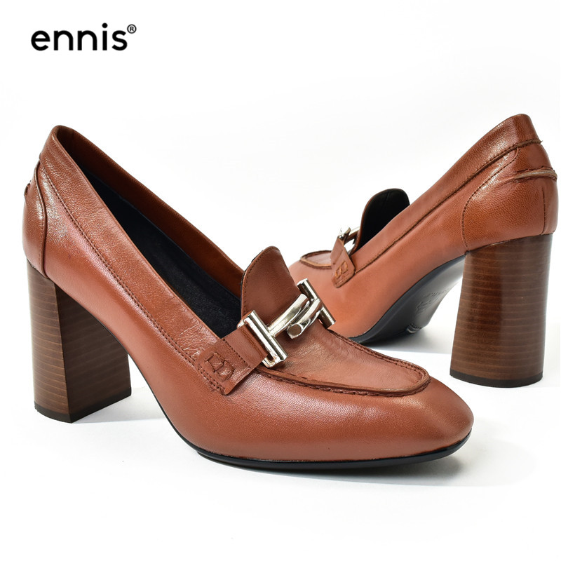 ENNIS 2019 Genuine Leather Women High Heel Shoes Metal Decorated European Designer Pumps New Fashion Ladies