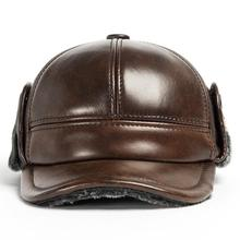 New Design fashion warmest Men's 100% Genuine cow  Leather Cap /Newsboy /Beret /Cabbie Hat/ Golf Hats ear protection caps цена