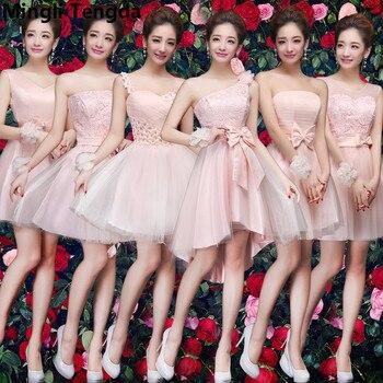 9d8cba92e1f1 2018 Rosa dama de honor vestidos O cuello de encaje flores foe boda  elegante dama de honor vestido ...