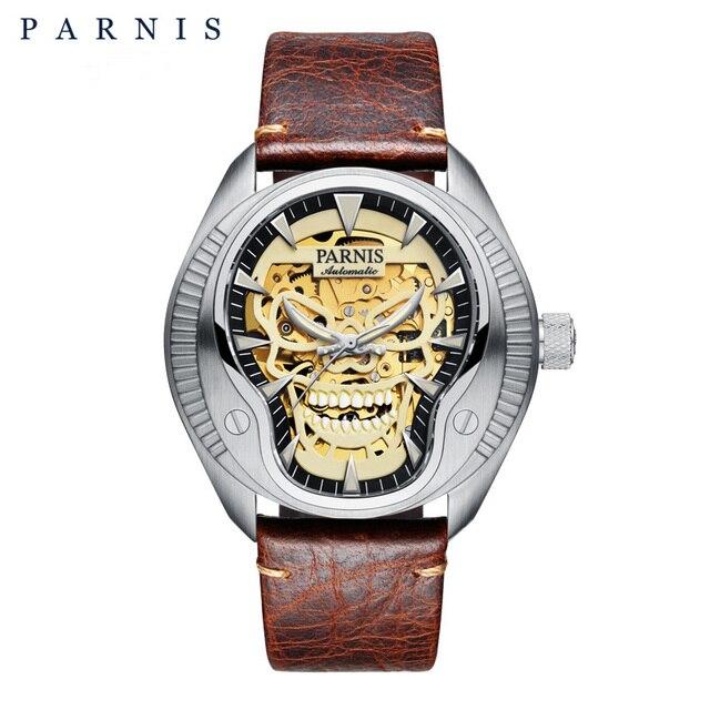 Parnis 43mm Skull Skeleton Mens Watch Luminous Dial Men Wrist Watch Automatic Mechanical Men's Watches relojes para automaticos   Fotoflaco.net