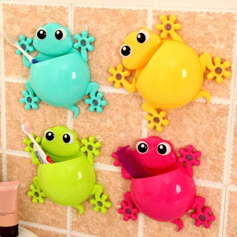 color verde Soporte de pared con ventosa para colgar cepillos de dientes Gecko