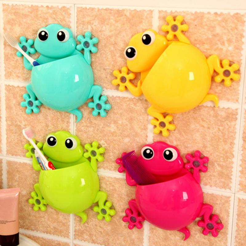 Cute Cartoon Gecko Model Toothbrush Toothpaste Wall Mount Sucker Makeup Holder Rack Children Bathroom Accessories