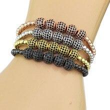 bracelet Men 4mm Copper Balls & 8 mm Micro Pave CZ Beads Braiding Macrame Bracelet pulseras bracelet homme charm bracelet