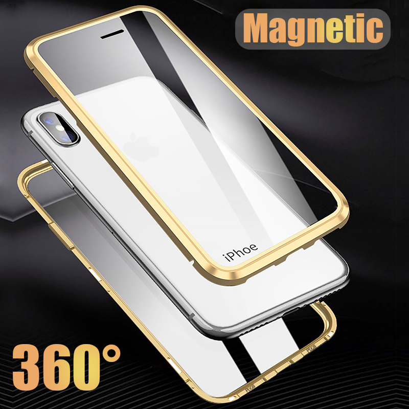 360 Full Protection Metal Case For iPhone X XS XR XS Max Front + Back Clear Tempered Glass Case For iPhone 7 8 Plus Magnet Cover360 Full Protection Metal Case For iPhone X XS XR XS Max Front + Back Clear Tempered Glass Case For iPhone 7 8 Plus Magnet Cover