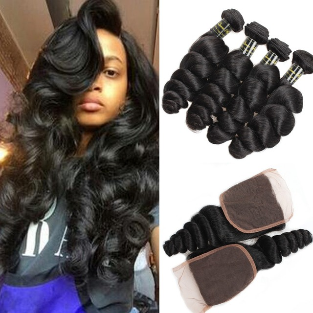 TOP 7A Peruvian Virgin Hair With Closure Peruvian Loose Wave With Closure 4PCS Loose Wave Peruvian Hair Bundles With LaceClosure