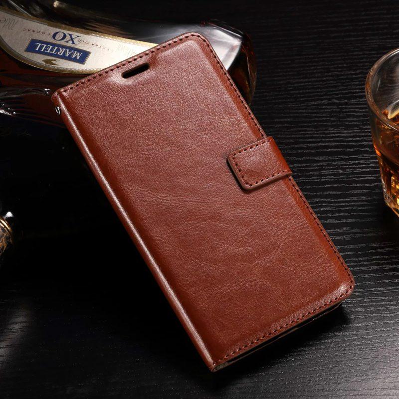 Tuke de lujo pu leather case para huawei y6 2 y6 ii cubierta del teléfono del ti