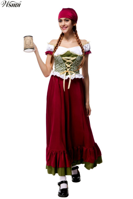 High Quality Adult Oktoberfest Beer Girl Costume German Wench Uniforms Carnival October Dirndl Peasant Maid Fancy  sc 1 st  AliExpress.com & High Quality Adult Oktoberfest Beer Girl Costume German Wench ...