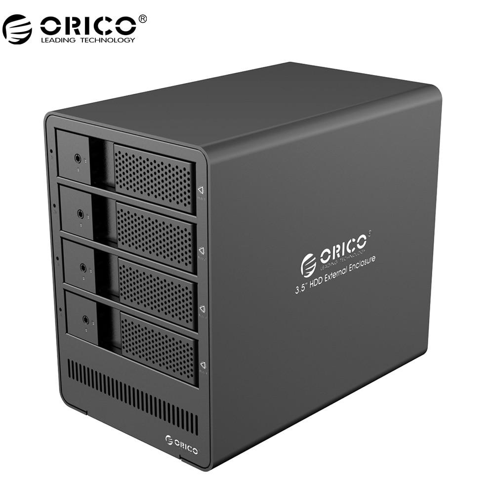 все цены на ORICO 9548U3 Aluminum 4 bay 3.5 inch SATA Drive Enclosure USB3.0 4*8TB Tool Free with 12V6.5A Power Adapter-Black онлайн