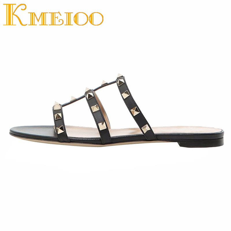 Kmeioo Mules for Women Rivets Slide Sandals Rockstud Mule Flats Strappy Studded Gladiator Sandals Cut Out Dress Slippers strappy backless dress for women
