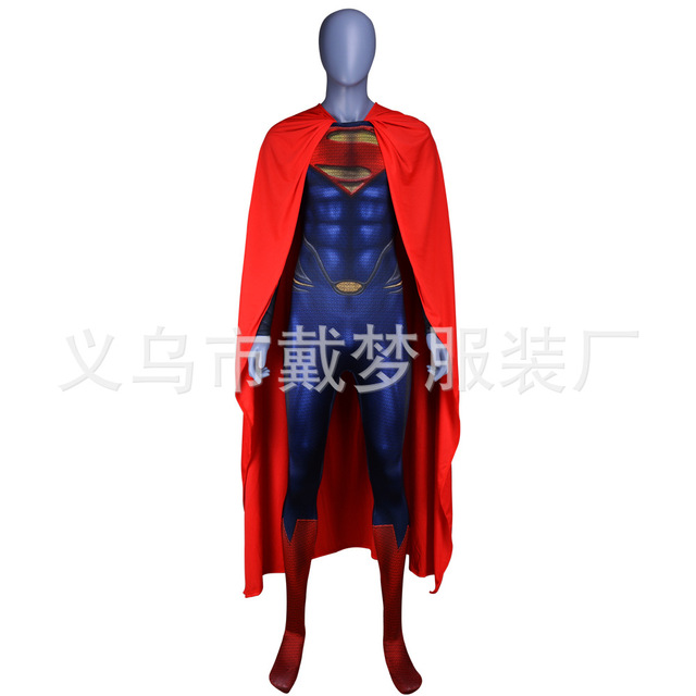 New Superman Costume Man of Steel Cosplay Outfit Deluxe 3D Print Jumpsuit  with Red Cape Superhero Halloween Zentai Kids/Adult