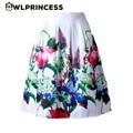 Z&KOZE 2016 50's rockabilly Vintage Audrey Hepburn Style High Waist A-Line tutu Skirt Women Colorful Flower Pleated Skirts