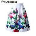 Z & koze 2016 estilo audrey hepburn rockabilly vintage de cintura alta una línea de falda del tutú mujeres colorido de flores plisadas faldas