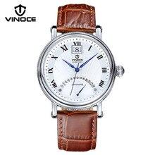 Vinoce luxury brand men watch visualización del calendario reloj de cuarzo relogio masculino impermeable correa de cuero del negocio de la moda 633249