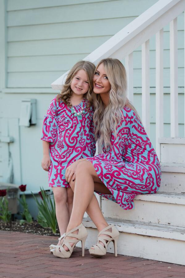 Family Matching Clothes Mother Daughter Dresses Mommy And Me Clothes Family Look Long Sleeve Print Dress Ropa Mujer Verano 2018