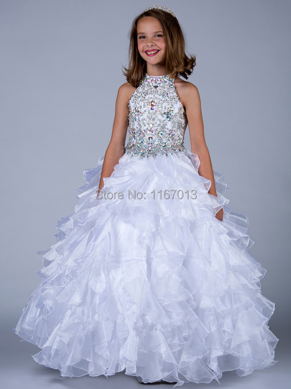 Sparkly Crystals Illusion Flower Girl Dresses Ball Gown Design ...