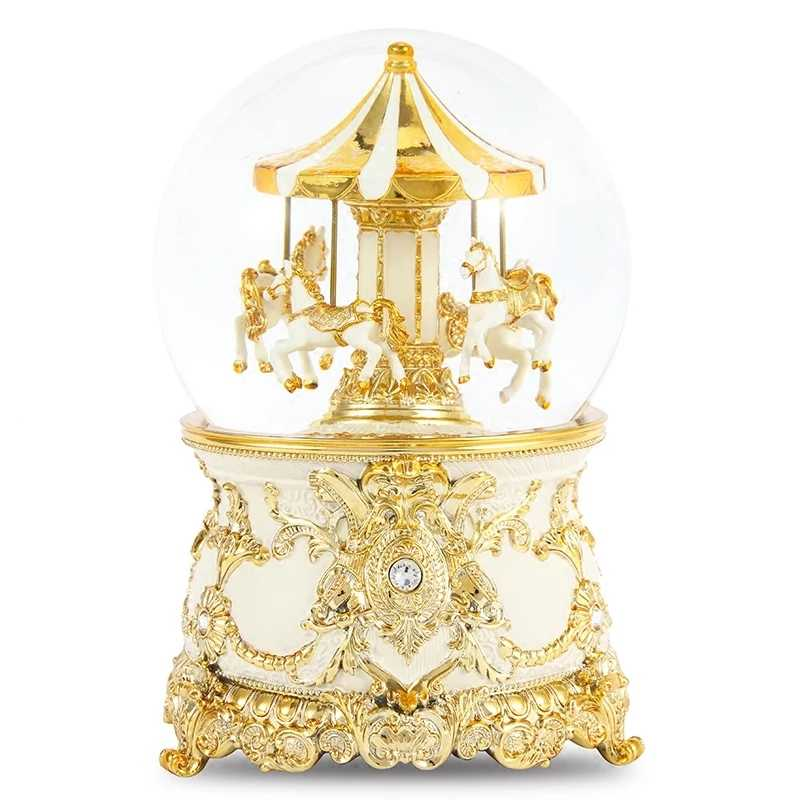 11*17cm Dream Carousel Snow Globes Glass Music Box Best Wedding LOVE Decoration Gift For Christmas New Year Give To Children