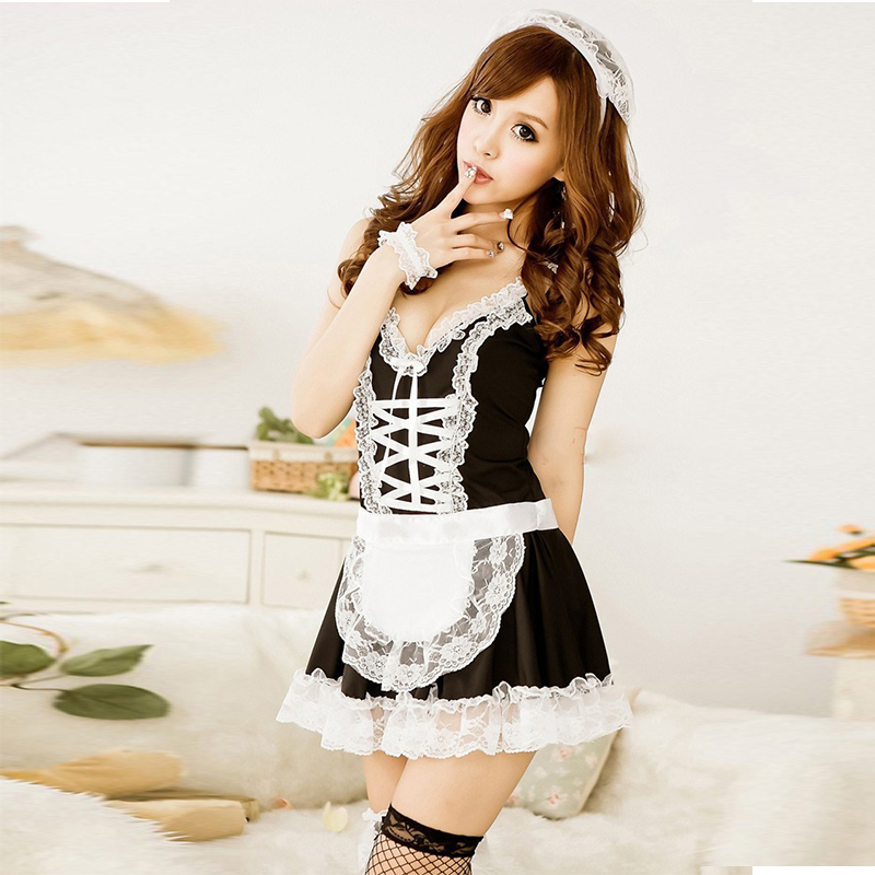 Jiahuige Lingerie Hot Lovely French Maid Uniform Dress -9902