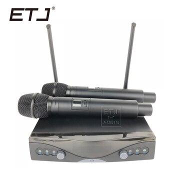 ETJ Wireless Microphone with Screen 50M Distance UHF 2 Channel Handheld Mic System Karaoke Wireless Microphone AK-3