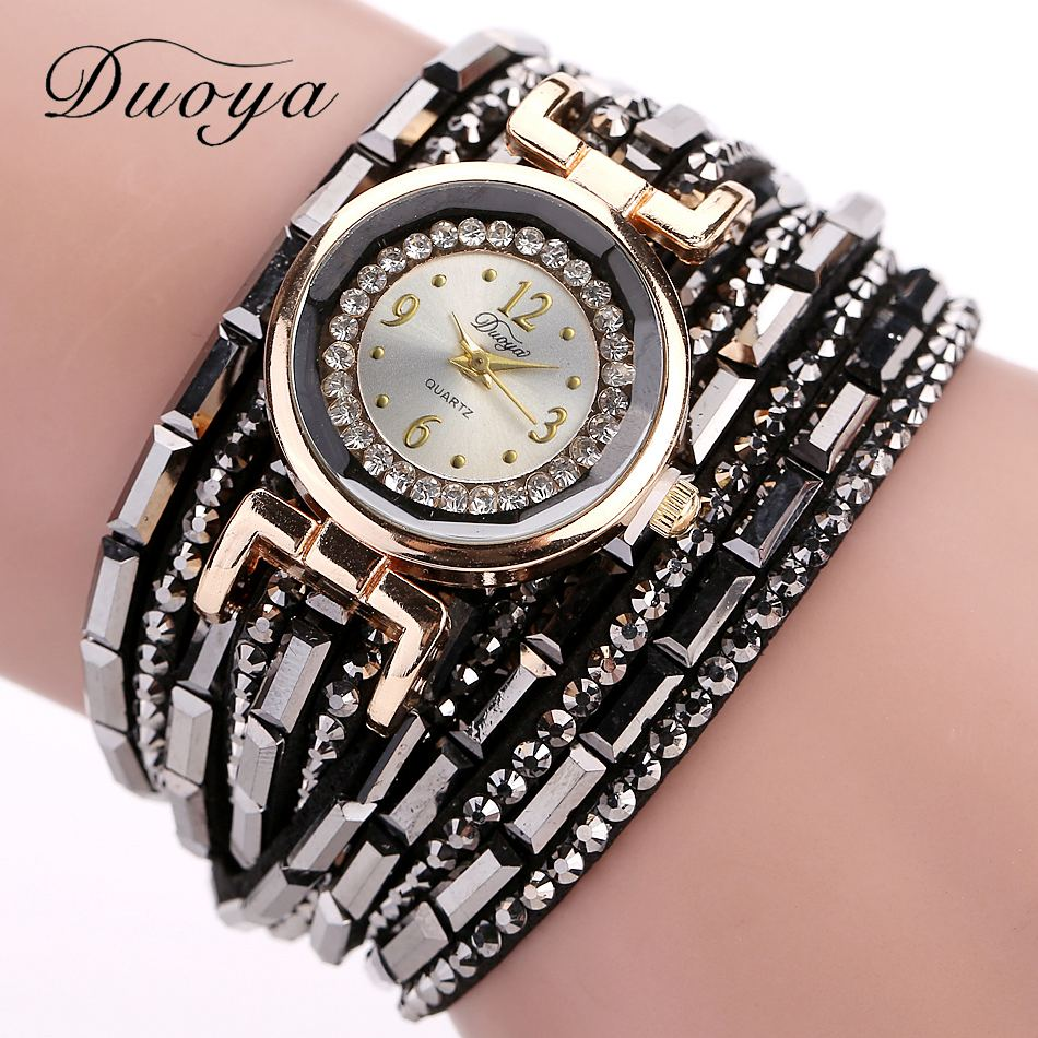 Duoya Popular Brand Watch Women Fashion Gold Dress Crystal Bracelet Wristwatches Women Luxury Leather Vintage Quartz Watch duoya brand new arrival women gold leather wrist watches for women dress bracelet luxury crystal vintage quartz watch clock 2018