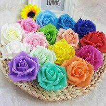 16Colors!7CM PE Artificial rose flower head diy wedding bouquet arch decoration kissing ball making
