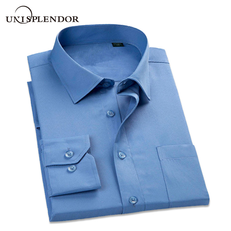 unisplendor 2019 Herre Kjole Shirts Business Formelle Langærmet Cotton Shirt Mænd Fashion Overalls Stribet Shirts S-5XL YN900