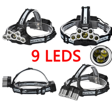 USB 9 CREE LED Led Headlamp Headlight head flashlight torch cree XM-L T6 head lamp rechargeable for 18650 battery