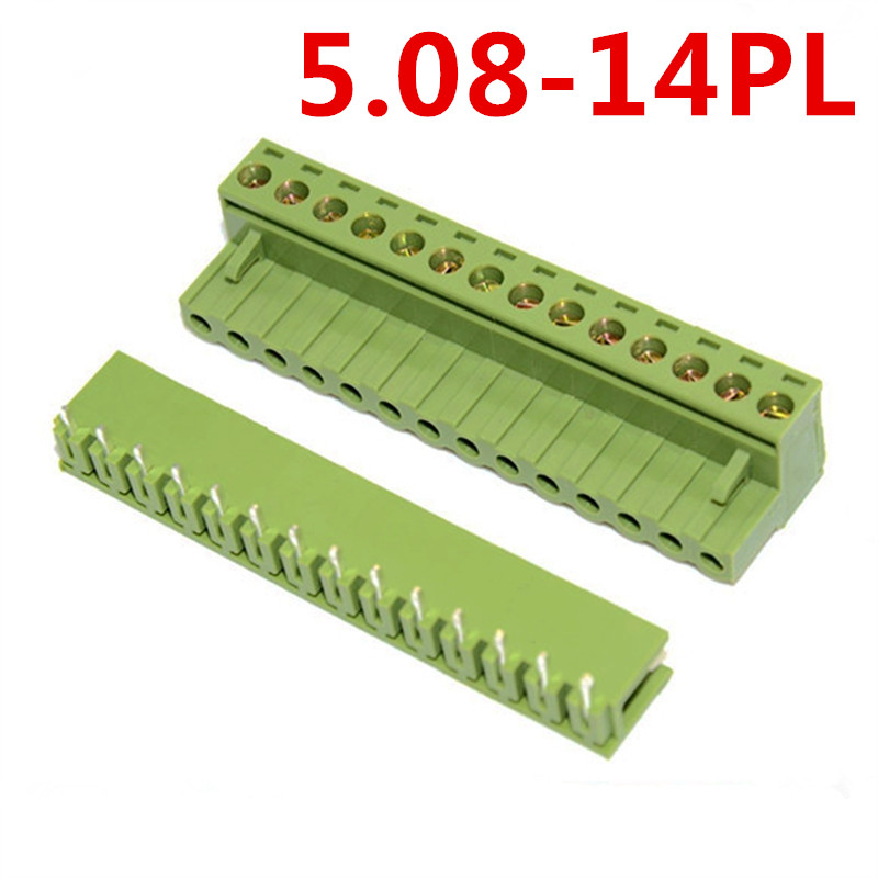 10sets 14Pin 5.08mm Pitch 300V 10A Plug-in Type Looper Angle Bend pin Green screw connector terminal block Pin header and socket