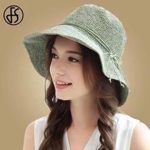 8140853ad3876 FS Disquete Sol Dobrável Chapéus Grande chapéu de Aba Larga chapéu de Palha  Chapéus de Praia