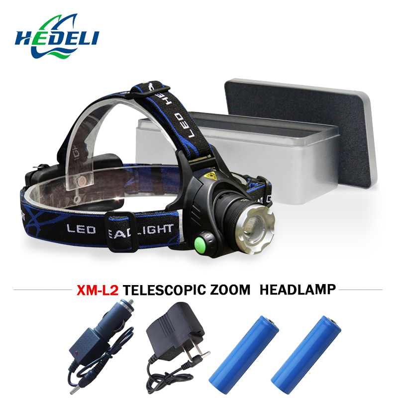 Powerful headlamp CREE XM L2 led head lamp rechargeable flashlight head headlight 18650 battery bike head light hunting fishing