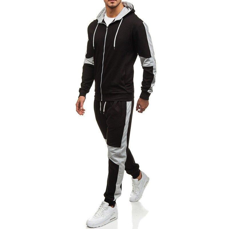 Plus Size Tracksuit 2018 Men Autumn Winter Fashion Mens Set Zipper Hooded Sweatshirt Jacket+Pant 2Pcs Sets M-2XL
