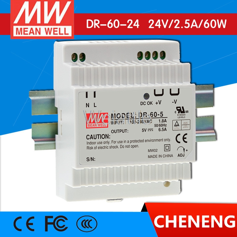 цена на MEAN WELL original DR-60-24 24V 2.5A meanwell DR-60 24V 60W Single Output Industrial DIN Rail Power Supply