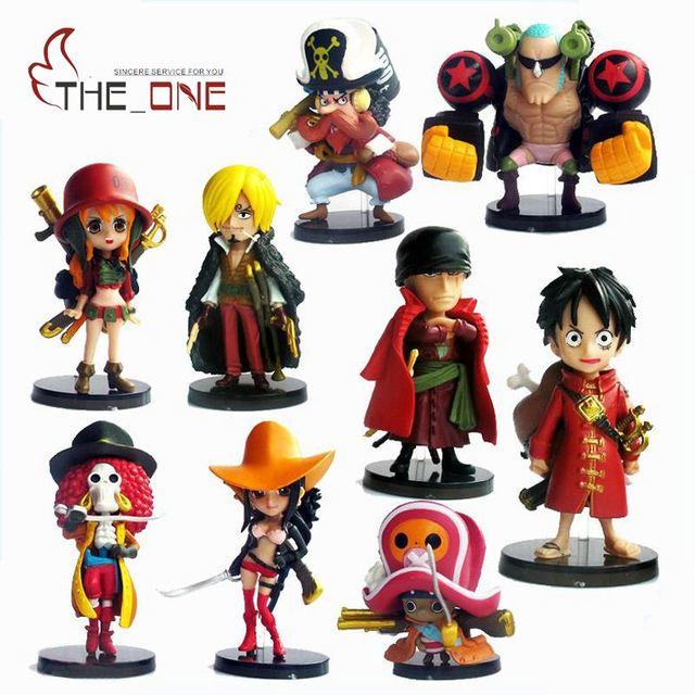 9 Шт./компл. 6-7 см Мультфильм One Piece Луффи соломенная шляпка Пираты ПВХ Аниме Фигурку Игрушки Для Детей Взрослых Коллекция Модель Подарок P020