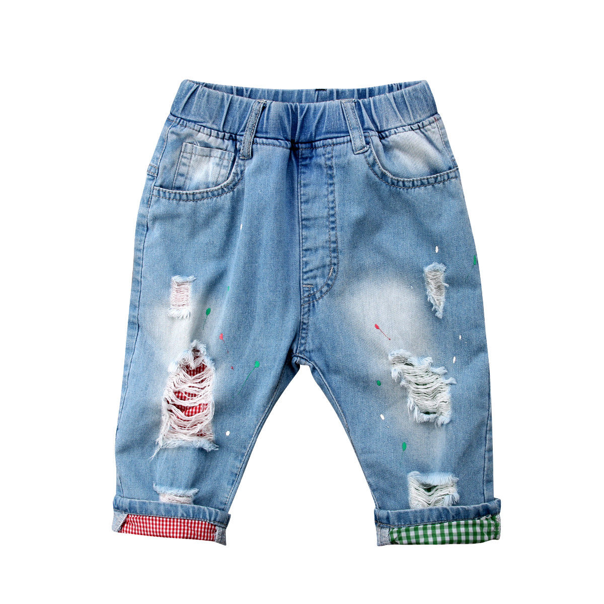 Summer Kids Boy Ripped Jeans Destroyed Frayed Knee-length Denim Shorts Pants USA