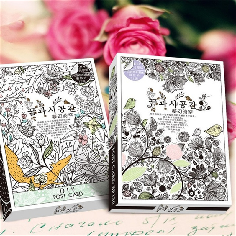 32 Sheets Coloring Postcard Tintage Postcards For Adult DIY Release Stress Painting Drawing Book Secret Garden Colouring Books