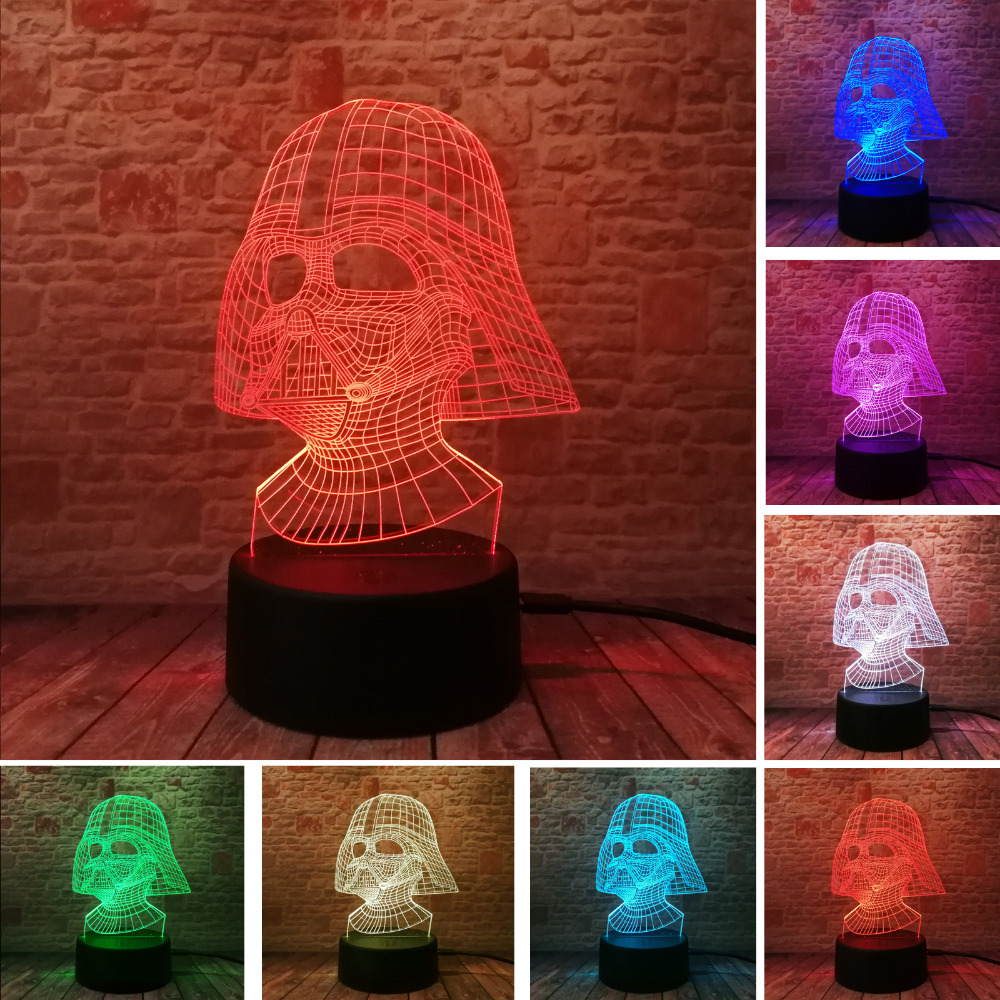 Black Knight Darth Vader 3D Visual Led Sleeping Nightlight Touch USB Table Lampara Illusion Mood Dimming Lamp Atmosphere 7 Color