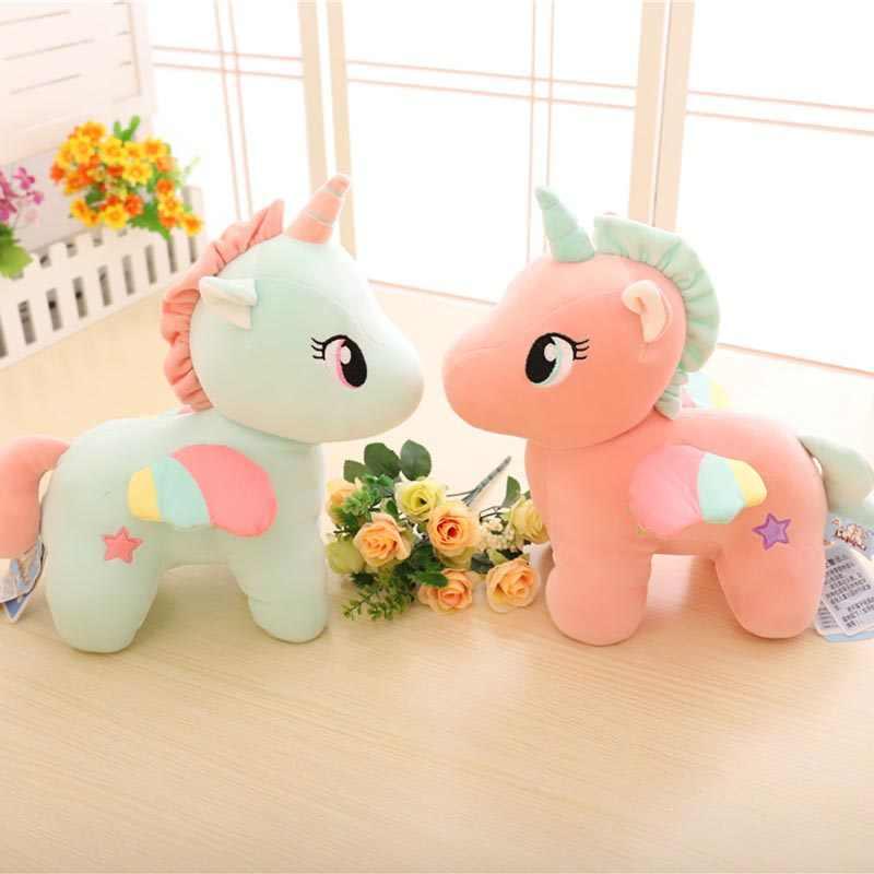 25 cm 30 cm pluszowe jednorożce ładny różowy/żółty/zielony mały koń miękka lalka zabawki dla dzieci wysokiej jakości wypchanych zwierząt pluszowe lalki