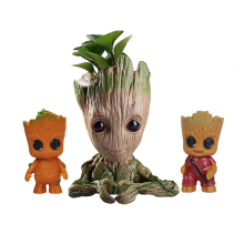 Flower Pot Baby Groot Flowerpot Cute Toy Pen Holder PVC Marvel Hero Model Tree Man Garden Plant Dropshipping