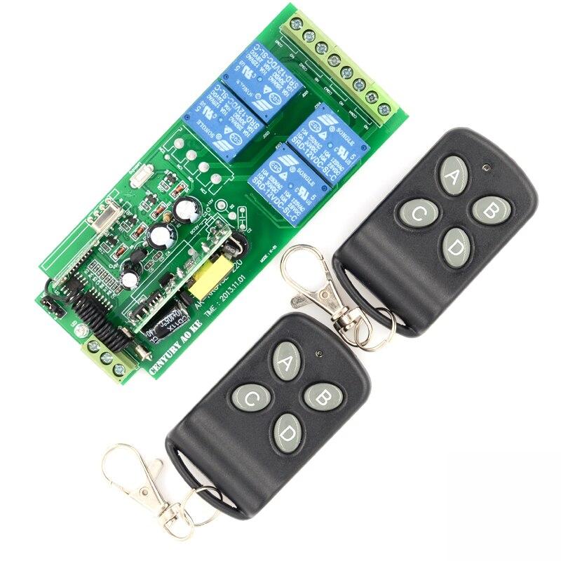 AK-RK04SE-220 85v~250V 110V 220V 230V 4CH RF Wireless Relay Switch Learning Code Receiver Security System Garage Doors