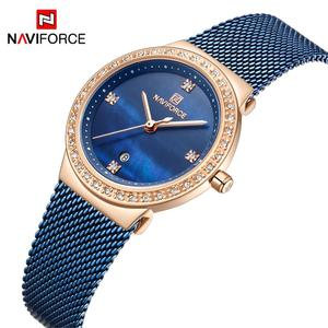 Image 5 - NAVIFORCE Fashion Brand Female Quartz Watch Stainless Steel Mesh Belts Elegant Ladies Watches Creative Luxury Dial Reloj Mujer