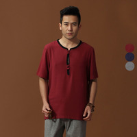 Burgundy Brand New Arrival Chinese Traditional Men's Cotton Linen Kung Fu Shirts Tops M L XL XXL 3XL MS2015032