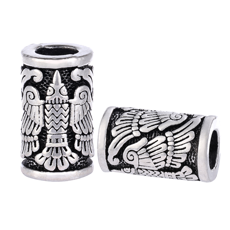 1pc Eagle Bird Engraving Vikings Beads for Bracelets Pendant Necklace DIY Vintage Beard Hair Jewelry Viking Beads C83 C84 vintage bird wings necklace for women