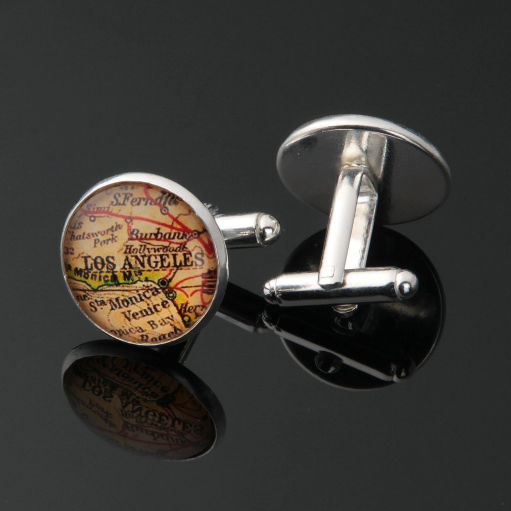 1 pair World Map Cufflinks Silver plated Old World Map Cuff links for men