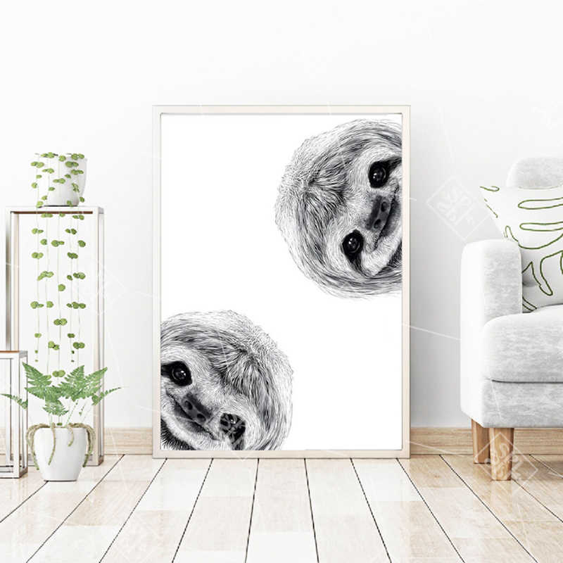 Abstract Black And White Sloth Cute Animals Poster Hd Print Canvas Painting Lovely Nursery Baby Room Decor Wall Art Pictures