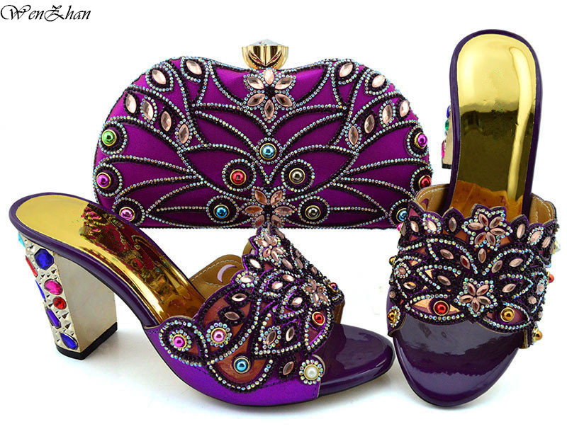 Fashion Purple Women Shoes And Bag Set To Match High Quality Italian Shoes With Matching Bags 9cm For Party B94-5Fashion Purple Women Shoes And Bag Set To Match High Quality Italian Shoes With Matching Bags 9cm For Party B94-5