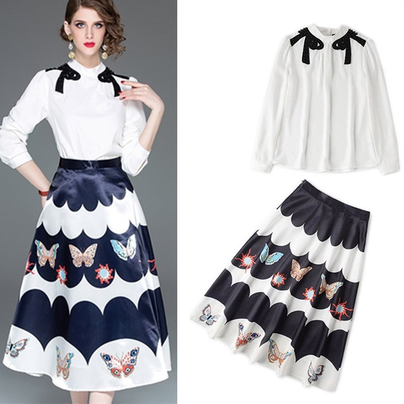 Women Spring Autumn Clothing Set Fashion Bows Beading Embroidery Appliques Shirts Blouse And Long Print Skirts Suit Sets NS966