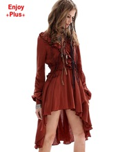 ENJOY PLUS 10%OFF chest 92 -96cm M L new autumn 2016 vintage red min dress women long sleeve asymmetrical v neck mujer vestido