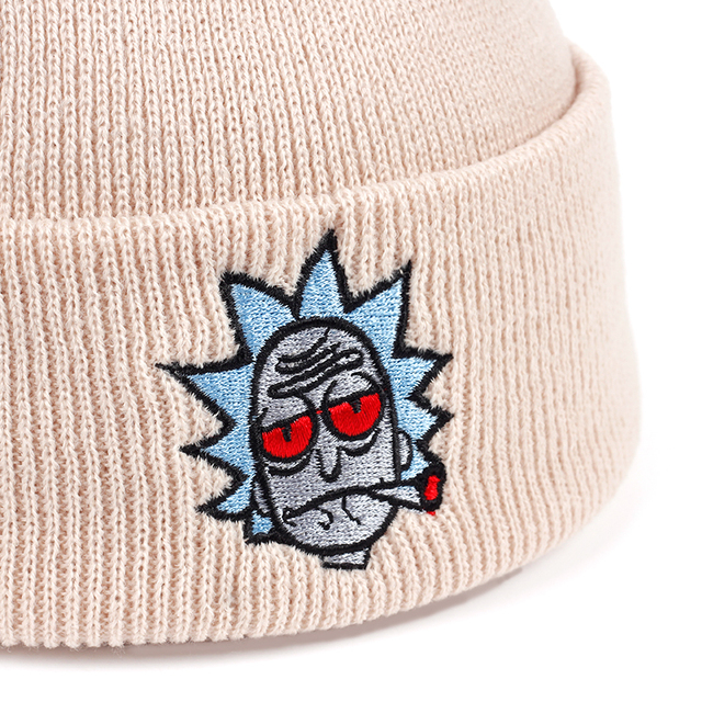 Rick and Morty Beanie Rick Smoking Hats Elastic Brand Embroidery Warm Winter Knitted Hat Skullies US Animation Ski Red Eyes Cap 2