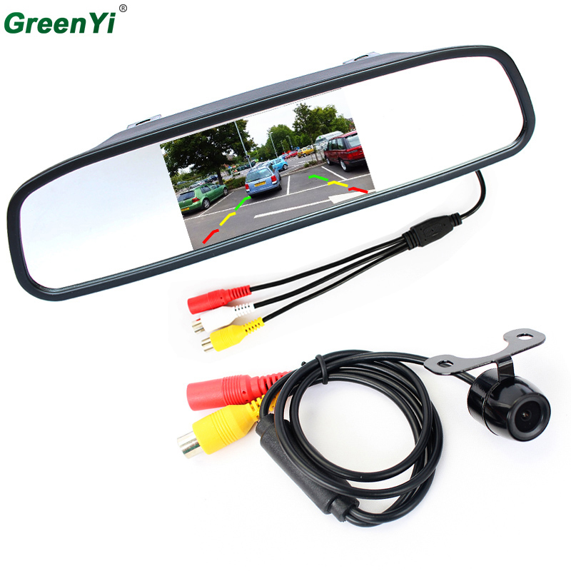 цена на Auto Parking Assistance System 2 in 1 4.3 Digital TFT LCD Car Mirror Parking Monitor + 170 Degrees Mini Car Rear view Camera