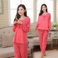 Женская мода Хлопок Характер Прекрасный Сладкий Пижамы Наборы плюс размер Длинным Рукавом Пижамы Ночная домашняя одежда M-3XL одежда