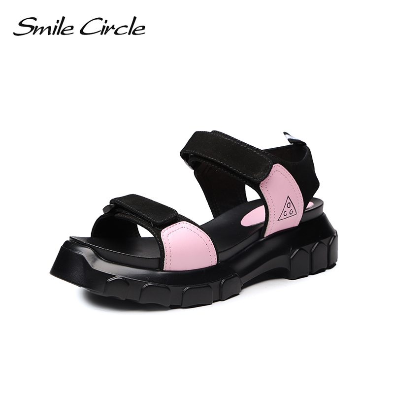 Smile Circle 2018 Summer Genuine Leather Casual Sandals For Women Shoes Fashion Flat Thick bottom Shoes women white Sandals beffery 2018 british style patent leather flat shoes fashion thick bottom platform shoes for women lace up casual shoes a18a309
